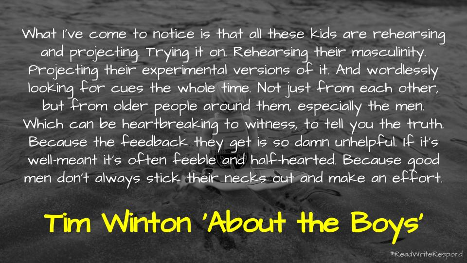 📑 About the boys: Tim Winton on how toxic masculinity is shackling men to misogyny